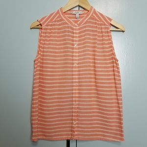 J.crew  Stripe Sleeveless top orange sz 4 -C2